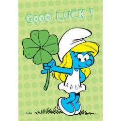 Carte postale Les Schtroumpfs, Schtroumpfette Good Luck ! (15x10cm)