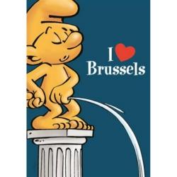 Postal Los Pitufos, I Love Brussels (10x15cm)