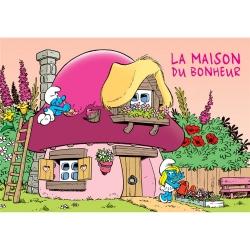 Postal Los Pitufos, Pitufo La Maison du Bonheur (15x10cm)