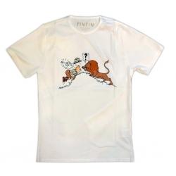 Camiseta Moulinsart de Tintín y Milú en el Congo frente al León (2019)
