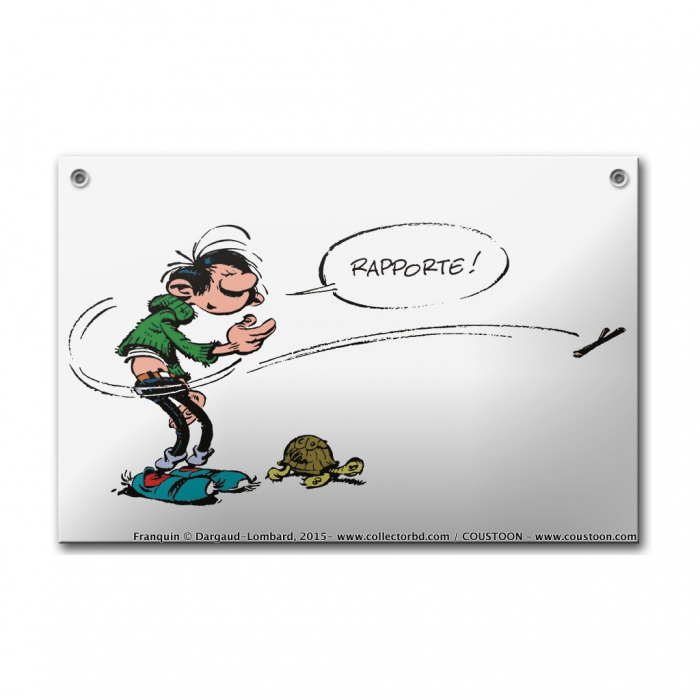 Comics enamel sign Coustoon Gaston Lagaffe and the Tortoise COUS37 (2015)