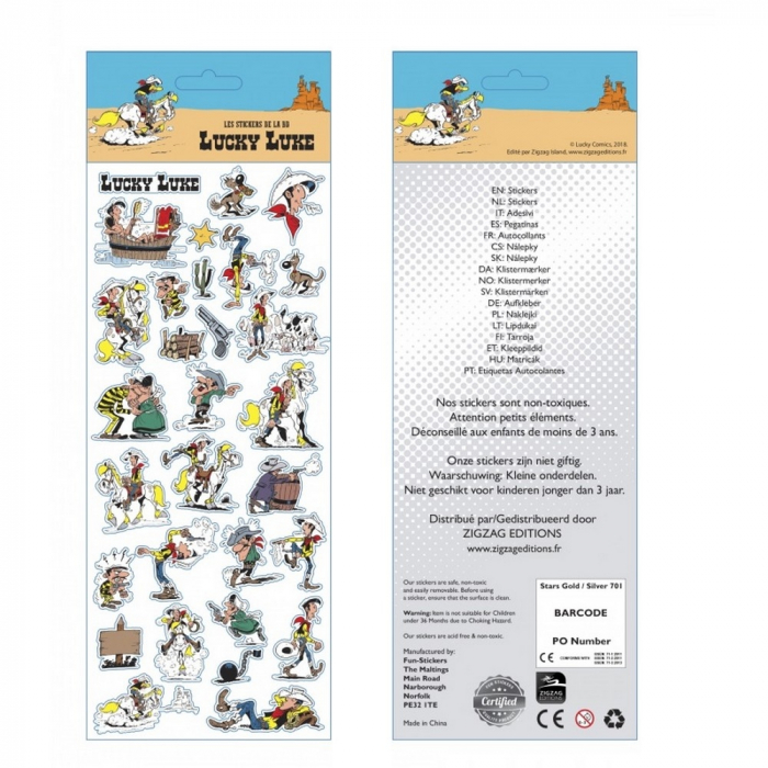 Planche de stickers autocollants Lucky Luke 31x11cm (FSLL01)