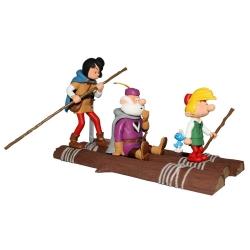 Figurine de collection Johan et Pirlouit sur le radeau, Le Pays maudit (2018)