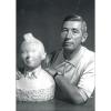 Carte postale Portrait d'Hergé, Robert Kayaert: Buste de Tintin 1960 (10x15cm)