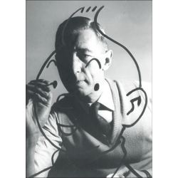 Postcard Hergé's portrait by Robert Kayaert: Drawing Tintin 1960 (10x15cm)