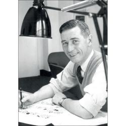 Carte postale Portrait d'Hergé, Robert Kayaert: Studio Tintin 1958 (10x15cm)
