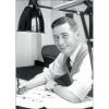 Postal Retrato de Hergé, Robert Kayaert: en su estudio Tintín, 1958 (10x15cm)