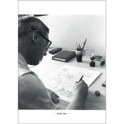 Postal Retrato de Hergé, Robert Kayaert: en su estudio Tintín, 1964 (10x15cm)
