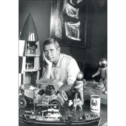 Postal Retrato de Hergé, Robert Kayaert: en su taller Tintín, 1960 (10x15cm)