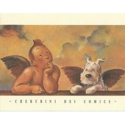 Ex-libris Offset Tribute to Tintin, Cherubini dei comics (17x25cm)