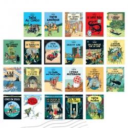 Set 22 Cartes postales des couvertures des Albums des Aventures de Tintin (FR)