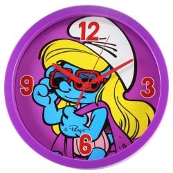 Horloge murale décorative Les Schtroumpfs 25cm (Schtroumpfette avec lunettes)