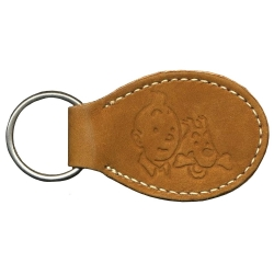 Leather Keyring chain Citime Tintin and Snowy (8,5cm)