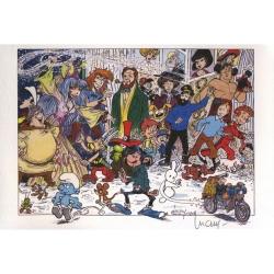 Ex-libris Offset Hommage à la BD, Luguy: Tintin, Astérix, Spirou... (21x14,5cm)