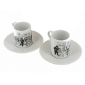 Set of two espresso cup and saucer Tintin collection Carte de voeux 1972 (47982)