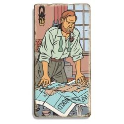 Placa de mármol Blake y Mortimer Maldición de los treinta Denarios T1 (10x20cm)
