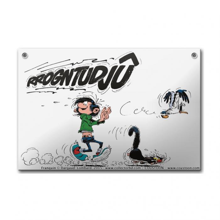 Comics enamel sign Coustoon Gaston Lagaffe Rrogntudjû COUS36 (2015)