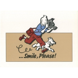 Advertising postcard Color Star BENELUX 1992 Tintin Smile Please Beige (10x15cm)