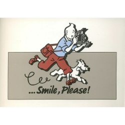 Carte postale Color Star BENELUX 1992 Tintin, Smile Please Gris (10x15cm)