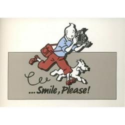 Postal publicitaria Star BENELUX 1992 Tintín, Smile Please Gris (10x15cm)