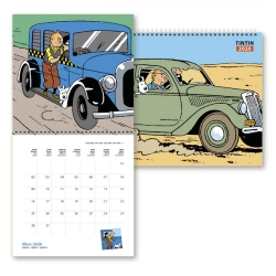 Calendario de pared 2020 Tintín y los coches 30x30cm