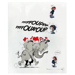 Plaque sérigraphiée de collection Coustoon Gaston Lagaffe et l'éléphant (2019)