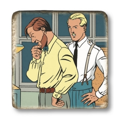 Collectible marble sign Blake and Mortimer Plutarch's Staff (20x20cm)