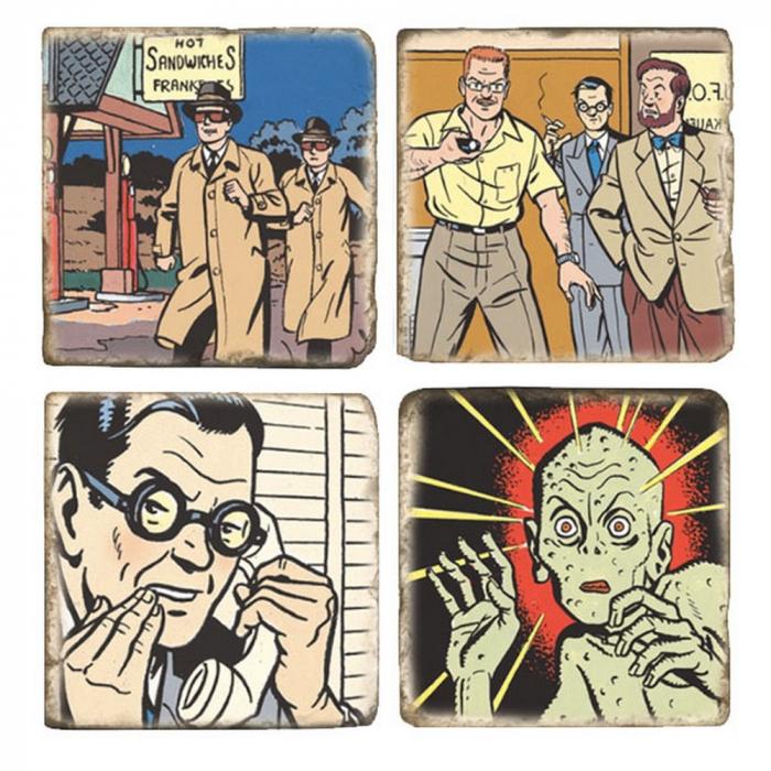 Placas de Mármol colección Blake y Mortimer La extraña cita (5x5cm)