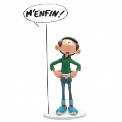 Figurine de collection Plastoy Gaston Lagaffe et sa pancarte M'enfin ! (00318)