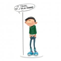 Figura Plastoy Tomás el Gafe con su cartel Le travail, moi j'en ai marre (00317)