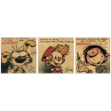 3x Posters offset Gaston Lagaffe, Marsupilami and Spirou with triptych (50x70cm)