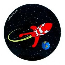 Aimant décoratif de Tintin, la fusée lunaire (55mm)