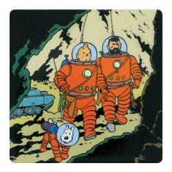 Aimant décoratif de Tintin et Haddock avec Milou sur la Lune (65mm)