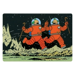 Decorative Magnet Tintin, Thomson and Thompson on the Moon (80x55mm)
