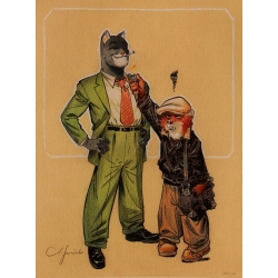 Poster offset Blacksad Juanjo Guarnido, Weekly with lighter signed (30x40cm)
