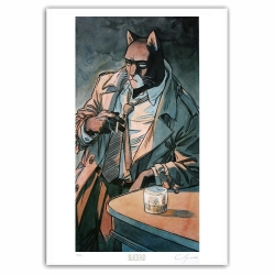 Poster offset Blacksad Juanjo Guarnido, leaning on the bar signed (50x70cm)