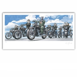 Poster offset Blacksad Juanjo Guarnido, Bikers signed (60x30cm)