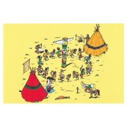 Postcard Lucky Luke: Dance around the Totem (15x10cm)