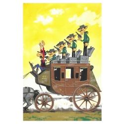 Carte postale de Lucky Luke: L'attaque de diligence des Dalton (10x15cm)