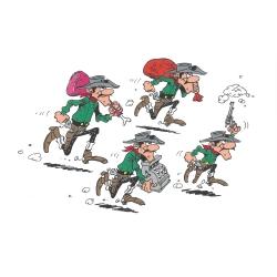 Postal de Lucky Luke: Huída de los Dalton (15x10cm)