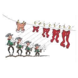 Carte postale de Lucky Luke: Les Dalton tirant sur le linge (15x10cm)