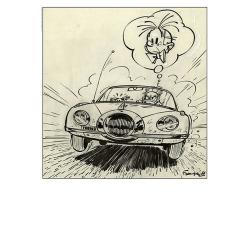 Póster cartel offset Spirou en la Turbotracción, Franquin (50x70cm)