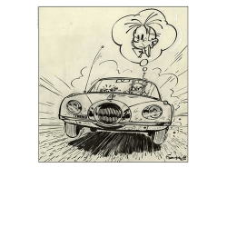 Poster offset Spirou and the Turbotraction, Franquin (50x70cm)