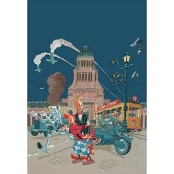 Póster cartel offset Spirou y Fantasio de Schwartz firmado (50x70cm)