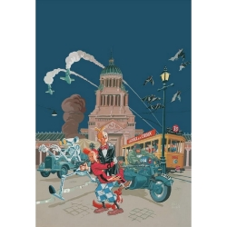 Poster offset Spirou and Fantasio by Schwartz signed (50x70cm)