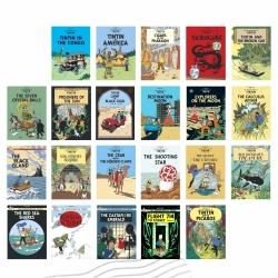 22 Postales de las portadas de los álbumes de las Aventuras de Tintín (Inglés)