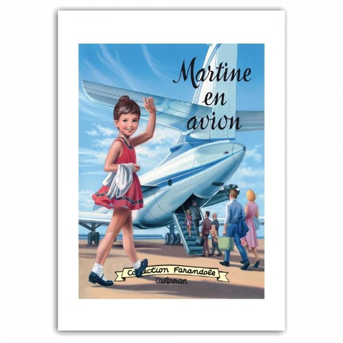 Póster cartel offset Martine en avion, Marlier (50x70cm)