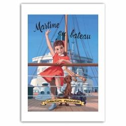 Póster cartel offset Martine en bateau, Marlier (50x70cm)