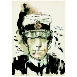 Carte postale Corto Maltese, Portrait de Corto en train de fumer (12,5x17,5cm)
