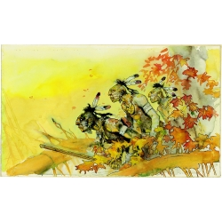 Carte postale Corto Maltese, Les Indiens (17,5x12,5cm)